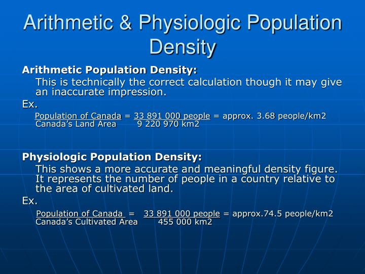Arithmetic & Physiologic Population Density