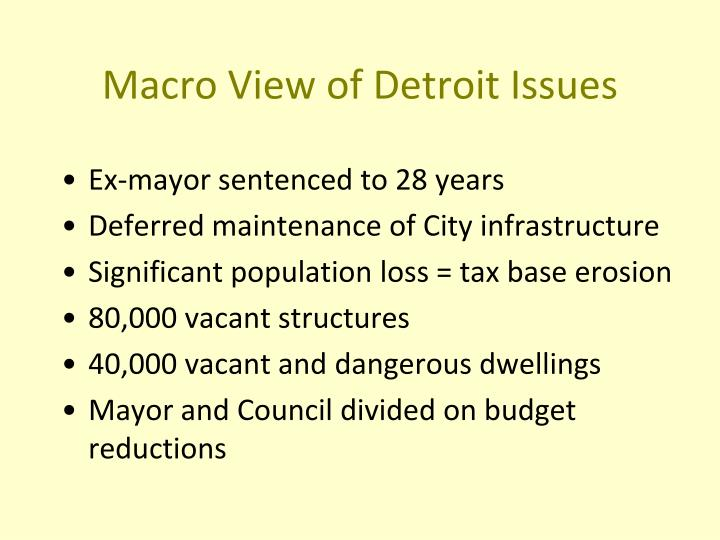Macro View of Detroit Issues