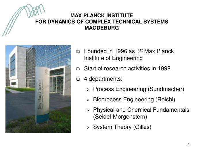 Max planck institute for dynamics of complex technical systems magdeburg