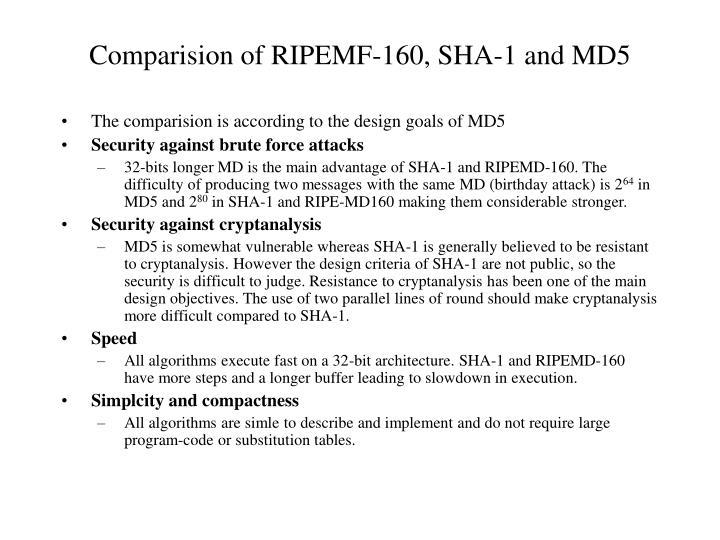 Comparision of RIPEMF-160, SHA-1 and MD5