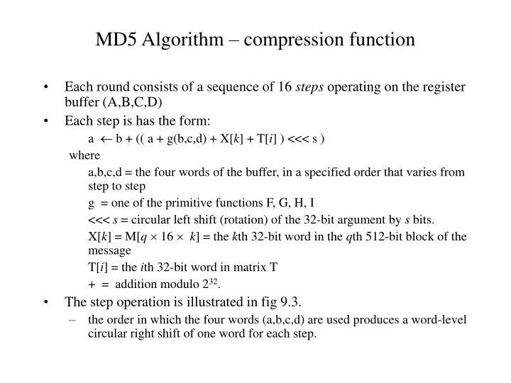 MD5 Algorithm – compression function