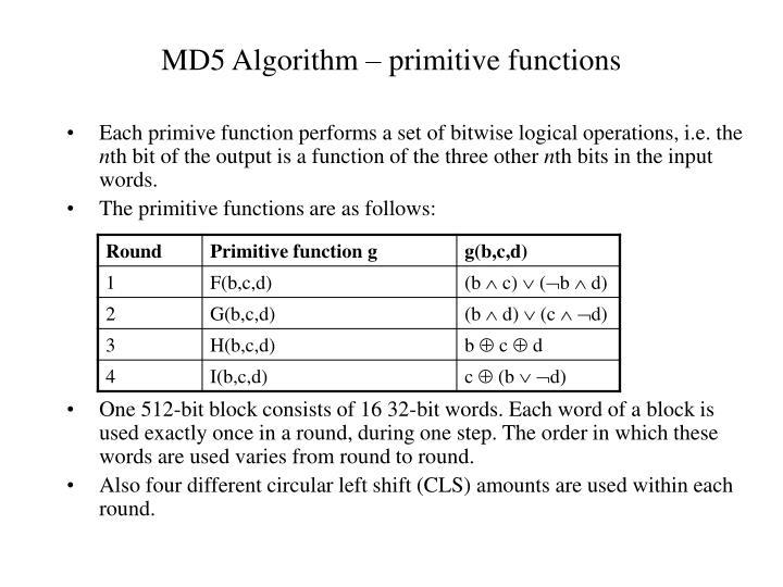 MD5 Algorithm – primitive functions