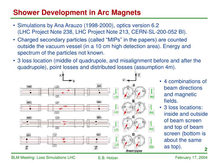 Shower Development in Arc Magnets