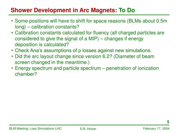 Shower Development in Arc Magnets: