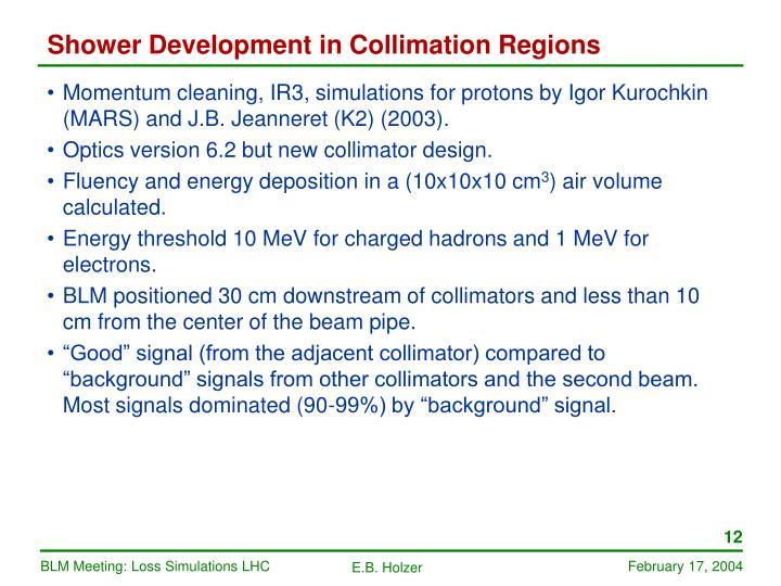Shower Development in Collimation Regions