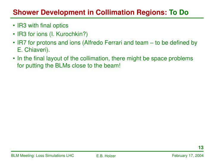 Shower Development in Collimation Regions: