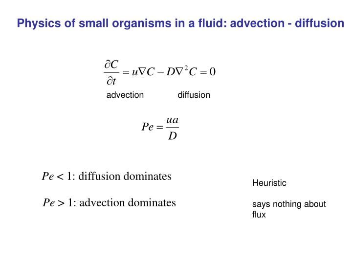 Physics of small organisms in a fluid: advection - diffusion