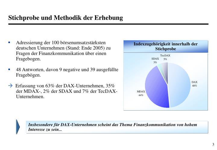 Adressierung der 100 börsenumsatzstärksten deutschen Unternehmen (Stand: Ende 2005) zu Fragen der Finanzkommunikation über einen Fragebogen.