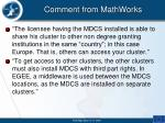 comment from mathworks