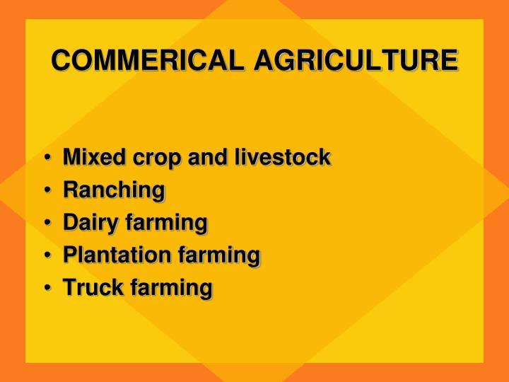COMMERICAL AGRICULTURE