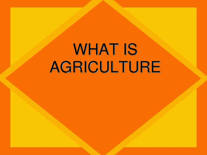 What is agriculture