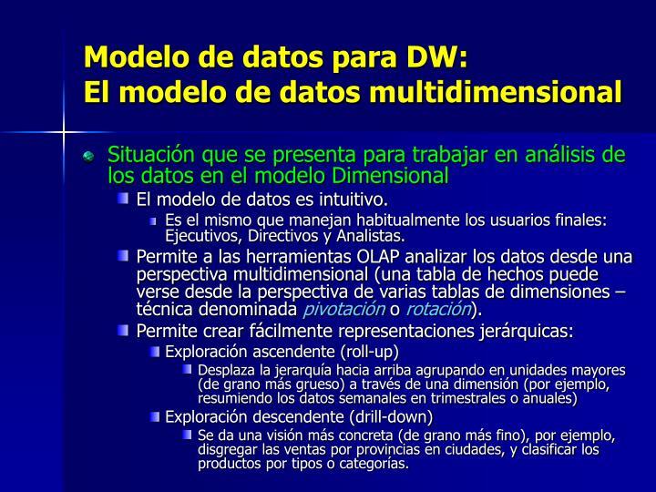 Modelo de datos para DW: