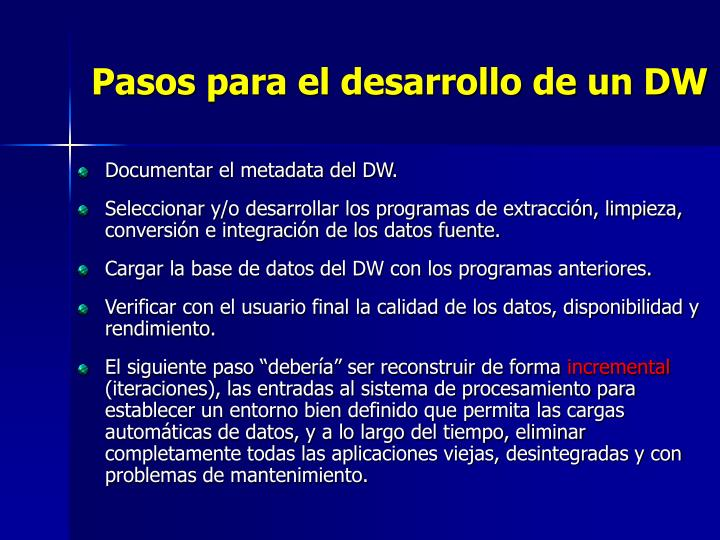 Pasos para el desarrollo de un DW