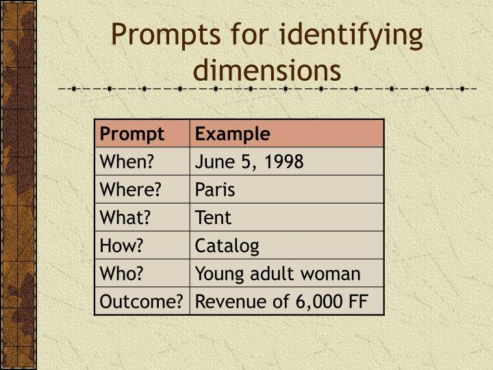 Prompts for identifying dimensions