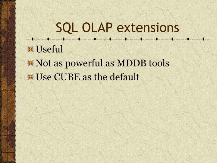 SQL OLAP extensions