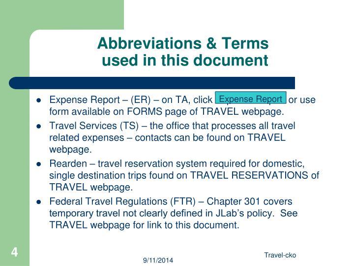 Abbreviations & Terms