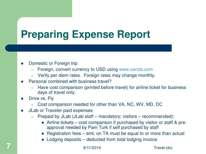 Preparing Expense Report