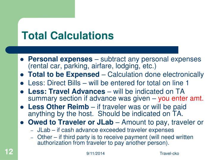 Total Calculations
