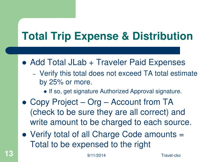 Total Trip Expense & Distribution