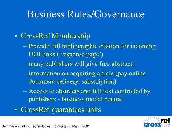 Business Rules/Governance
