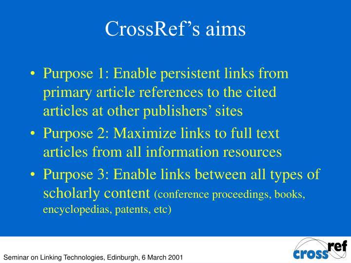 CrossRef's aims
