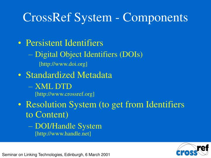 CrossRef System - Components