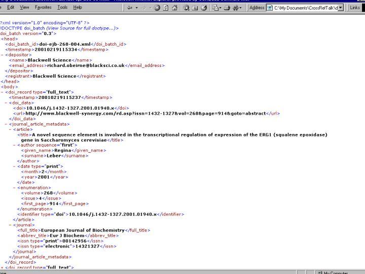Metadata file example