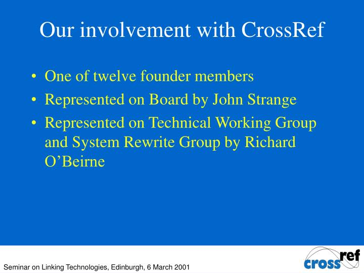 Our involvement with CrossRef