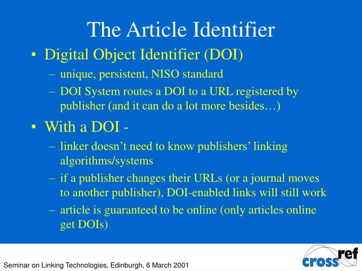 The Article Identifier
