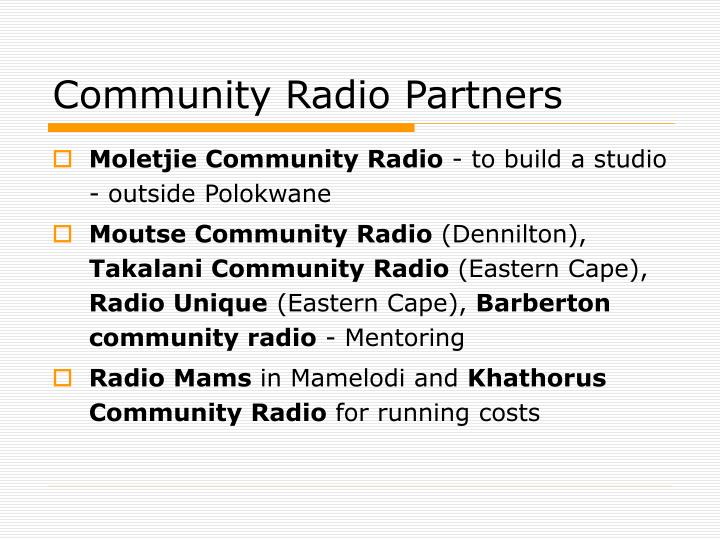 Community Radio Partners