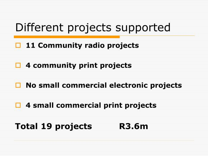 Different projects supported