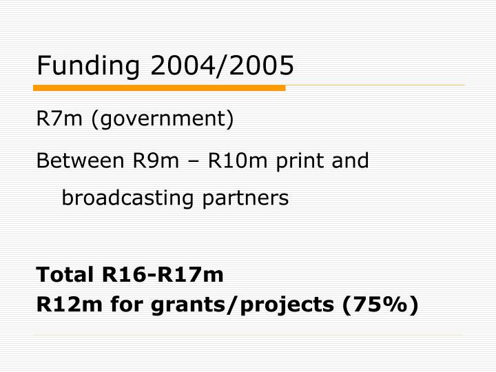 Funding 2004/2005