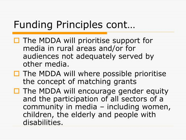 Funding Principles cont…