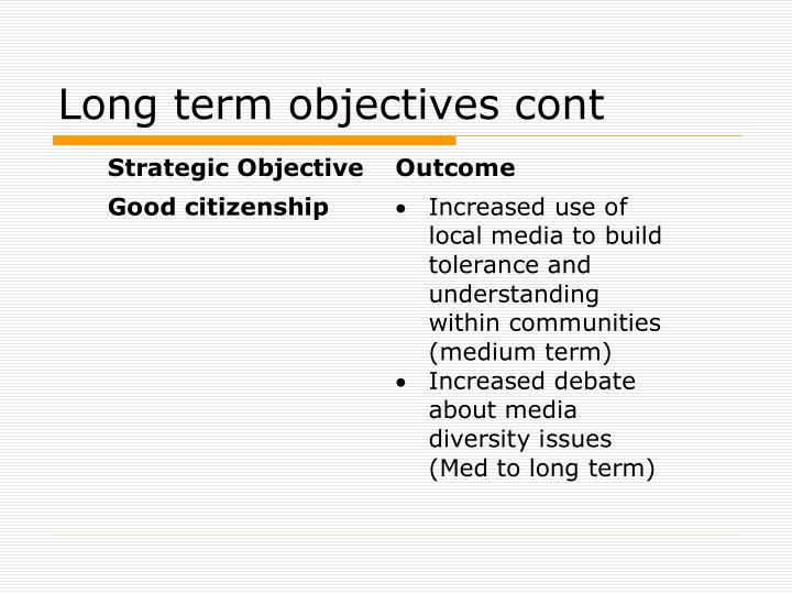 Long term objectives cont