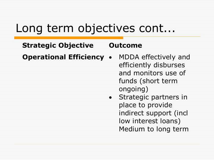 Long term objectives cont...