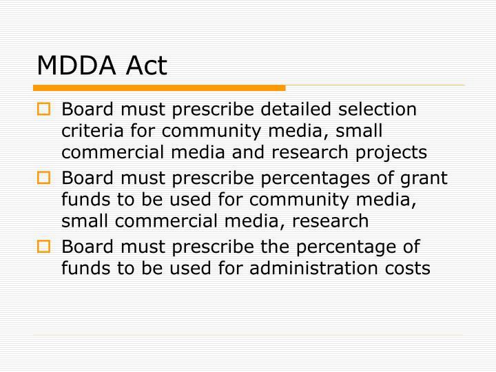 MDDA Act