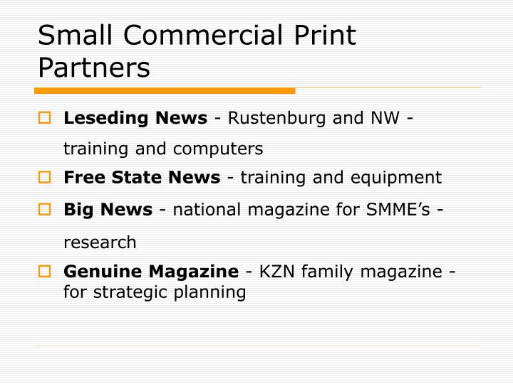 Small Commercial Print Partners