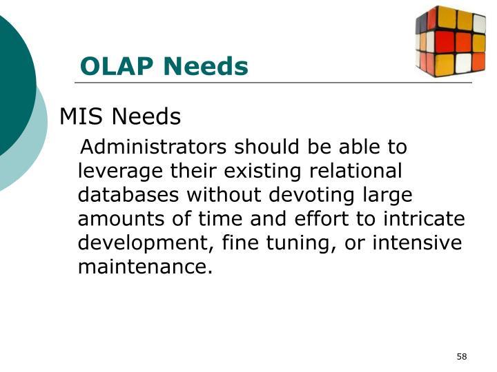 OLAP Needs