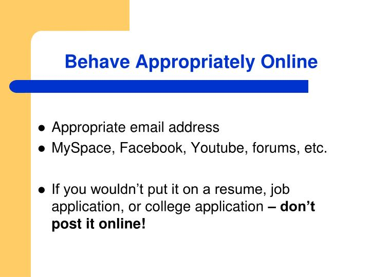 Behave Appropriately Online