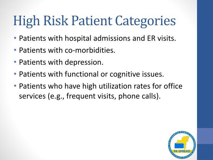 High Risk Patient Categories
