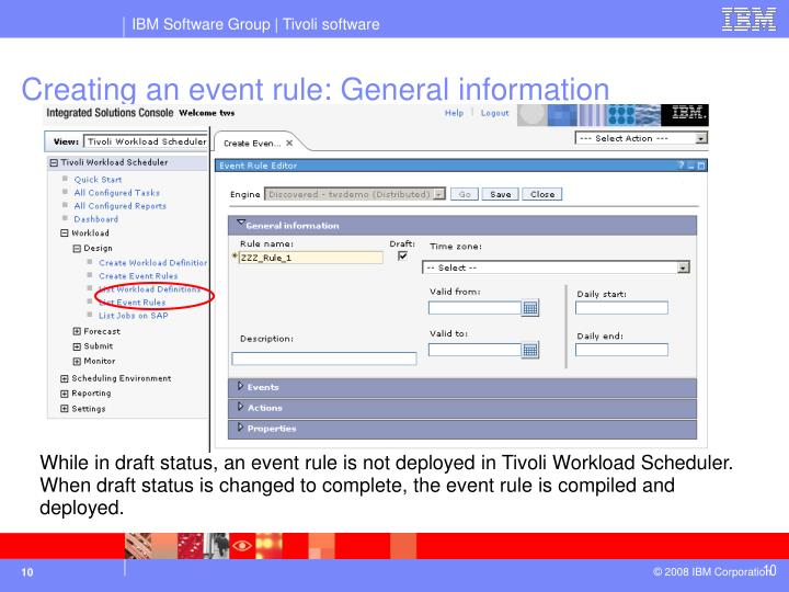 Creating an event rule: General information