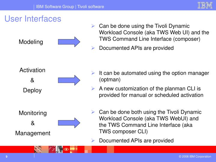 Can be done using the Tivoli Dynamic Workload Console (aka TWS Web UI) and the TWS Command Line Interface (composer)