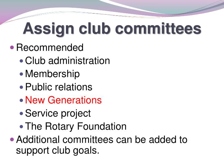 Assign club committees