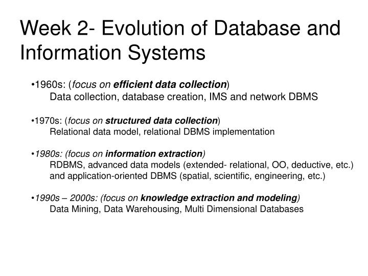 Week 2- Evolution of Database and Information Systems