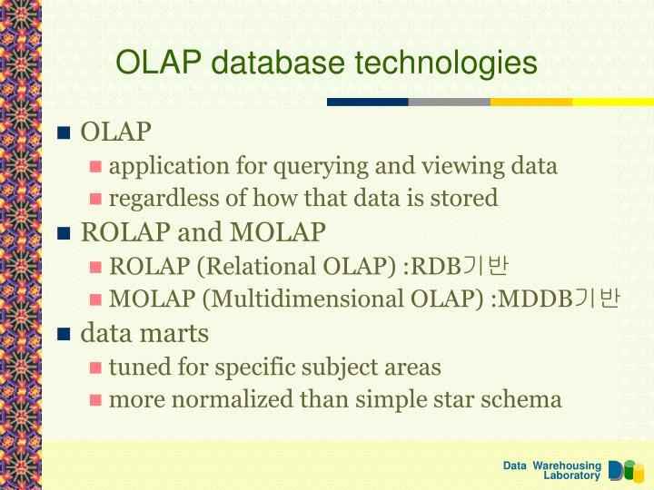 OLAP database technologies