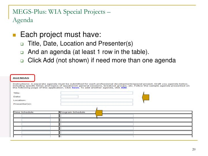 MEGS-Plus: WIA Special Projects –