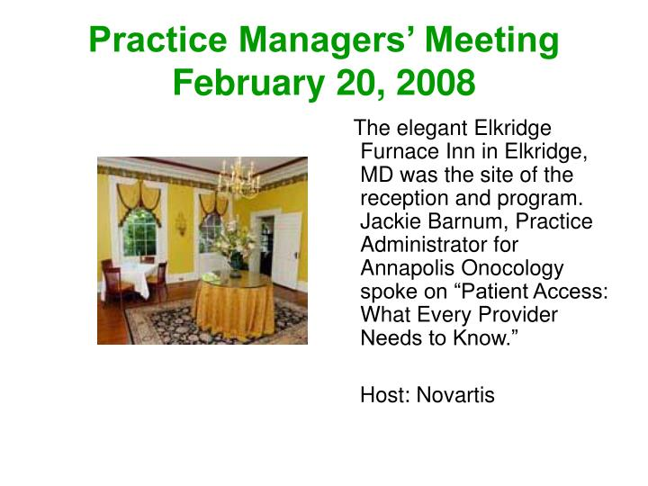 Practice Managers' Meeting