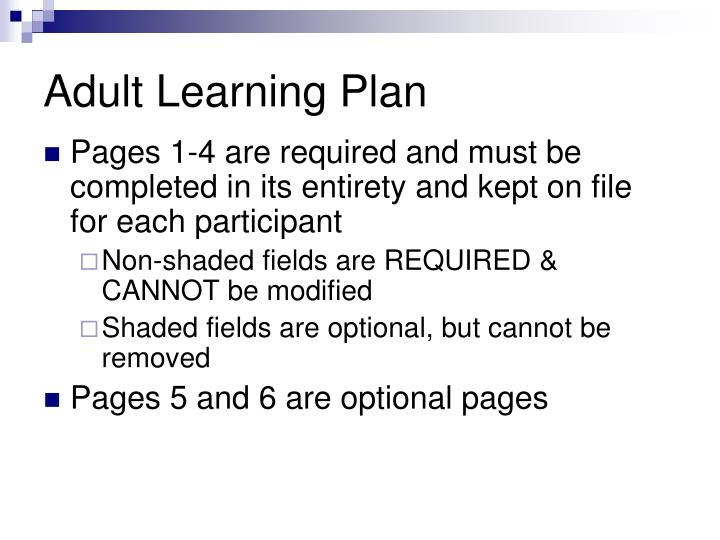 Adult Learning Plan