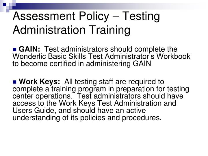Assessment Policy – Testing Administration Training