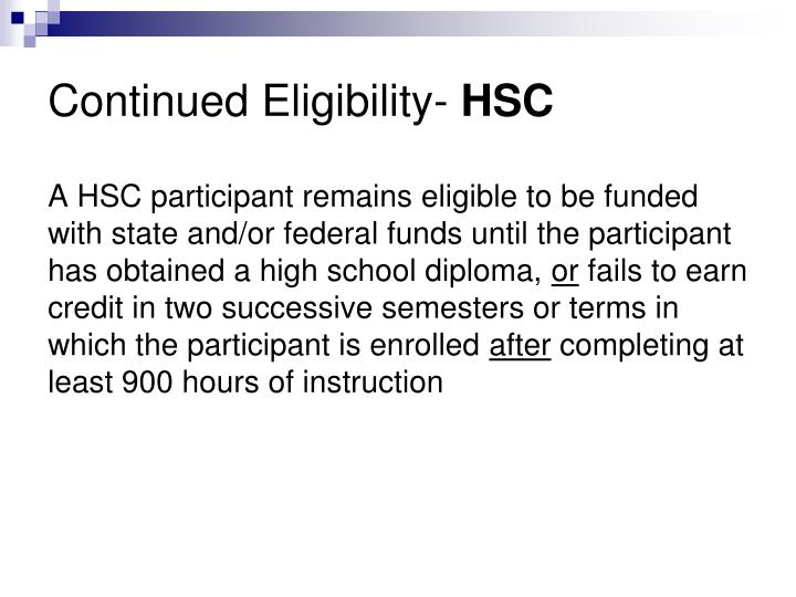Continued Eligibility-